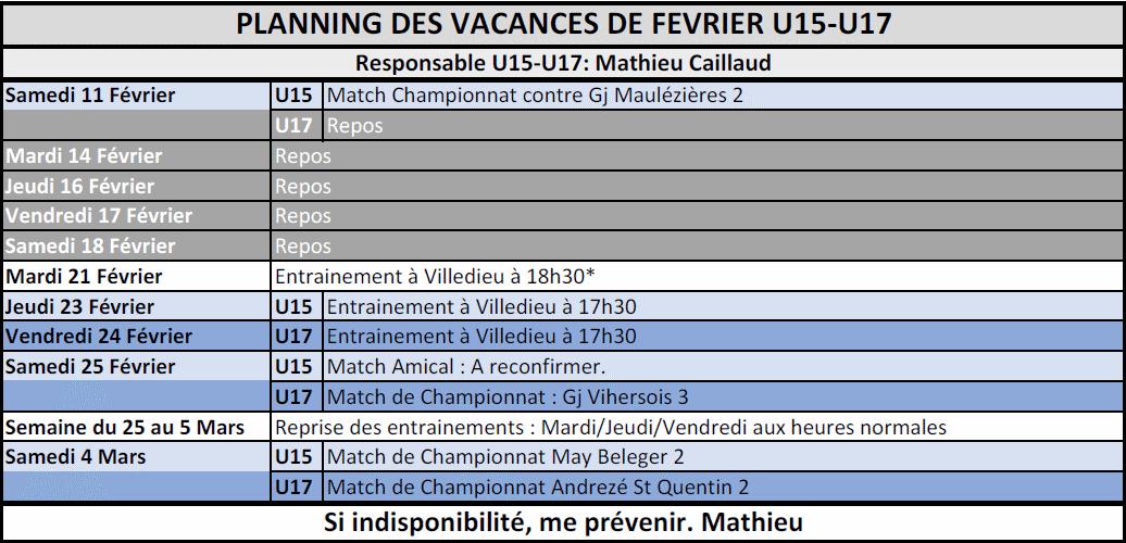 Planning Vacances U15